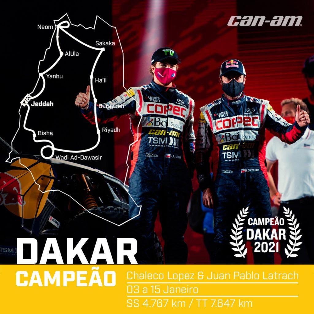 Chilenos Francisco Chaleco Lopez e Juan Pablo Vinagre, da South Racing Can-Am, são os campões do Dakar 2021 nos UTVs. Crédito: MCH Photography